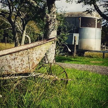 rusting wheelbarrow