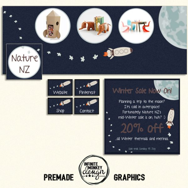to the moon premade facebook graphics